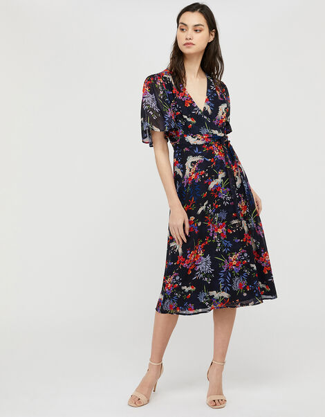 Oaklyn Bird and Floral Tea Dress Blue, Blue (NAVY), large