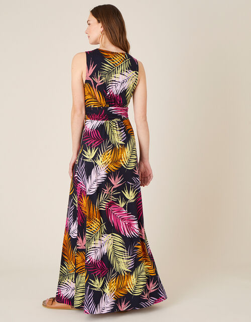 Arni Palm Print Jersey Maxi Dress, Black (BLACK), large