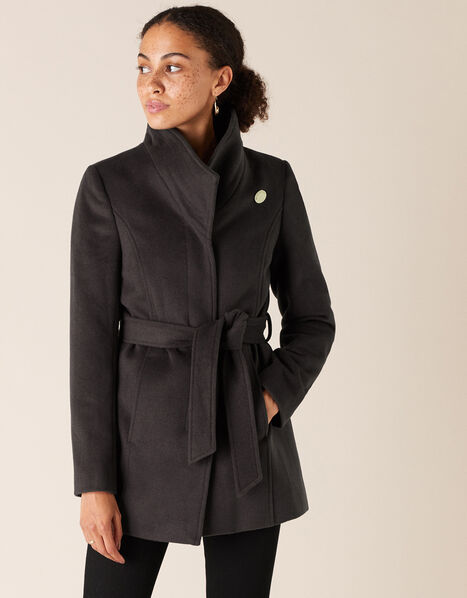 Remmie Short Belted Coat Grey, Grey (CHARCOAL), large