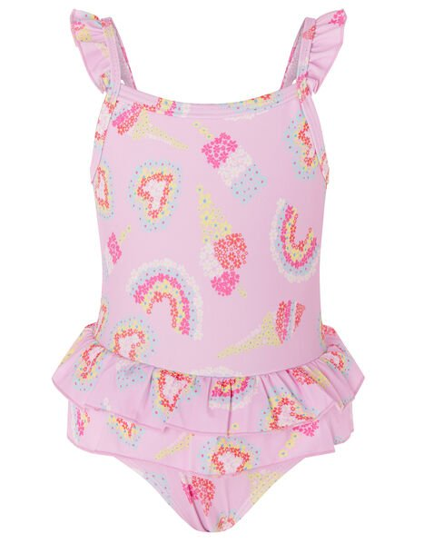 Baby Rainbow Frill Swimsuit  Pink, Pink (PALE PINK), large
