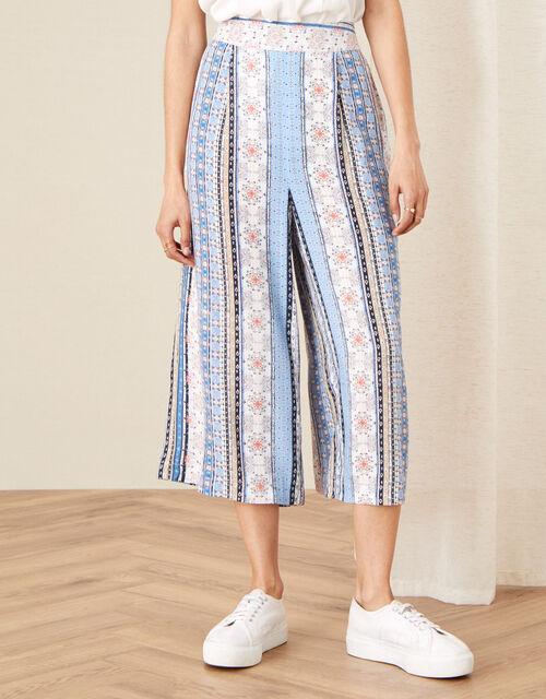 Patch Print Stripe Culottes, Blue (BLUE), large