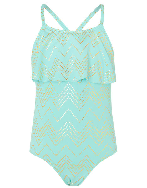 Chevron Foil Frill Swimsuit Blue, Blue (TURQUOISE), large
