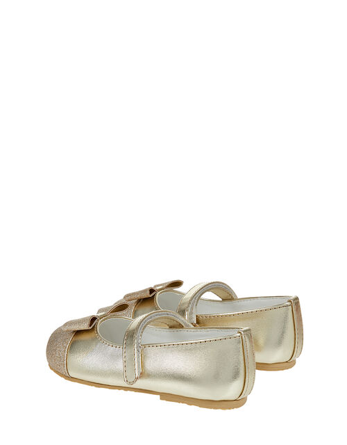 Gracie Glitter Bow Walker Shoes, Gold (GOLD), large