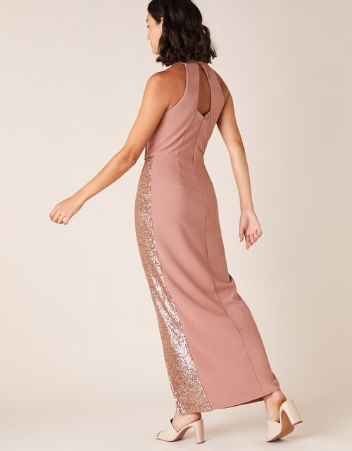 Kaitlyn Sequin Panel Stretch Maxi Dress, Pink (BLUSH), large