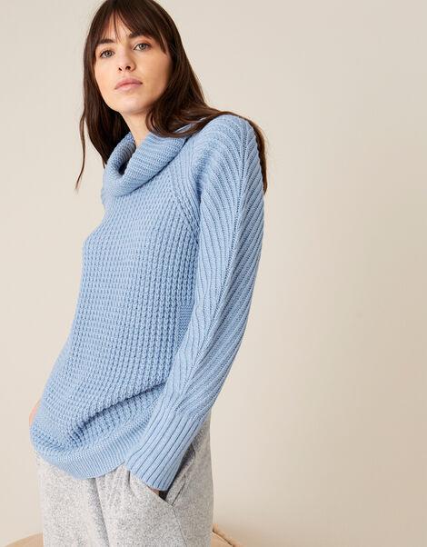 Caitlyn Cowl Neck Stitchy Jumper Blue, Blue (BLUE), large