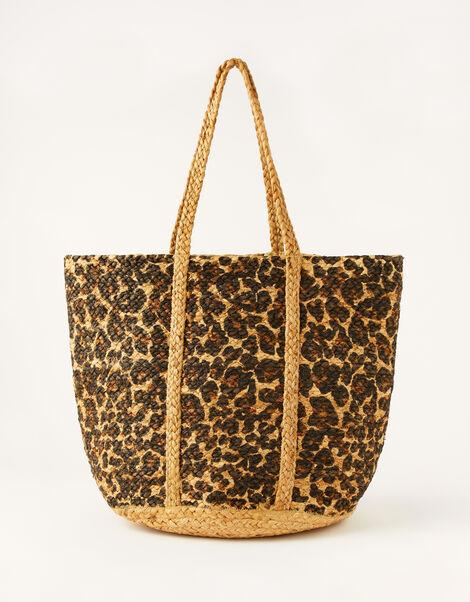 Animal Print Jute Shopper Bag, , large