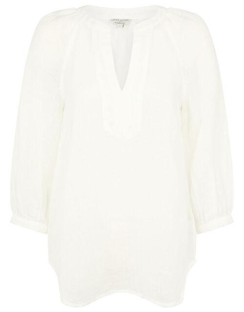 Long Sleeve Top in Linen Gauze, White (WHITE), large