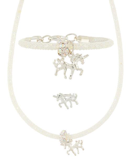 Sparkle Encased Unicorn Necklace, Bracelet & Ring Set, , large