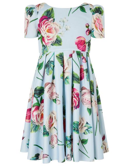 Floral Scuba Dress, Blue (PALE BLUE), large