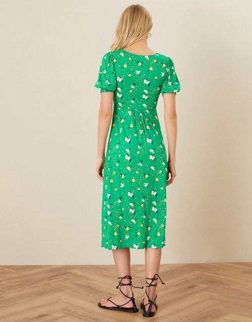 Nicky Floral Shirred Jersey Dress, Green (GREEN), large
