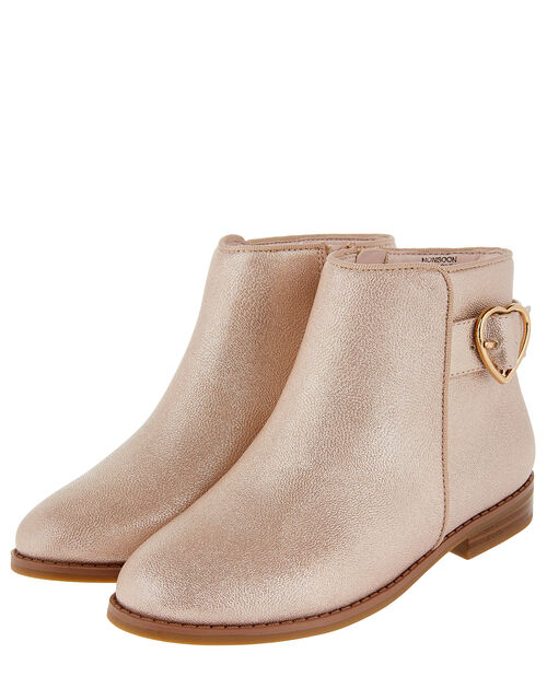 Penny Heart Buckle Shimmer Ankle Boots, Pink (PINK), large