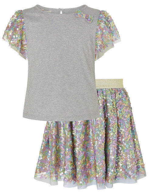 Rainbow Sequin T-shirt and Skirt Set, Grey (GREY), large
