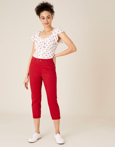 Idabella Cropped Jeans Red, Red (RED), large