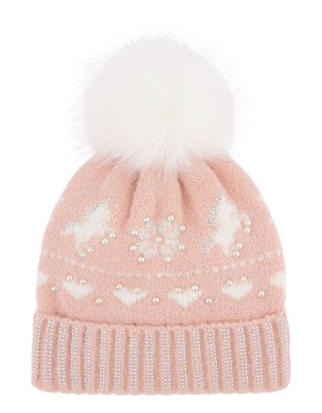 Charlotte Unicorn Fair Isle Beanie Pink, Pink (PALE PINK), large