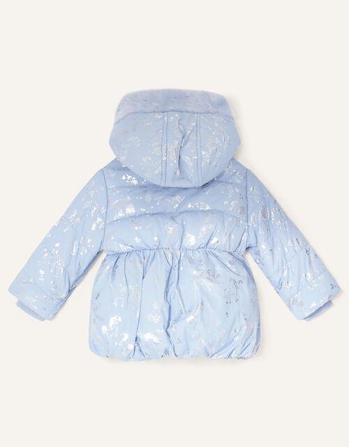 Baby Foil Unicorn Padded Coat, Blue (PALE BLUE), large