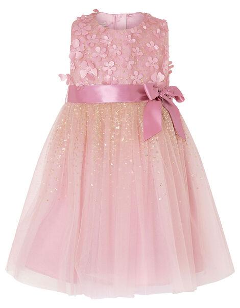 Baby Alison 3D Flower Glitter Dress Pink, Pink (DUSKY PINK), large