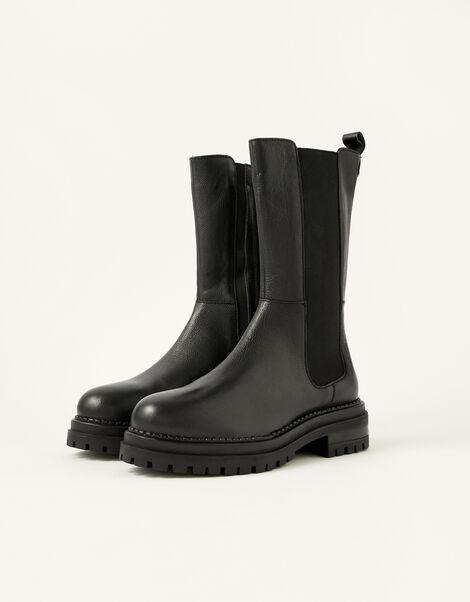 Saphira Stomper Leather Boots Black, Black (BLACK), large