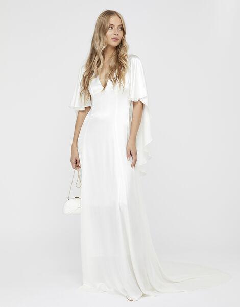 Vera Bridal Satin Cape Maxi Dress Ivory, Ivory (IVORY), large