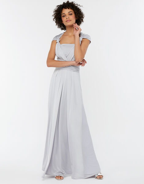 Natasha Jersey Maxi Multiway Bridesmaid Dress Silver, Silver (SILVER), large