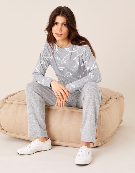 Lisa Love Print Jersey Top  Grey, Grey (CHARCOAL), large