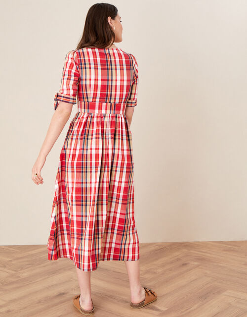 Check Midi Dress in Organic Cotton, Red (RED), large