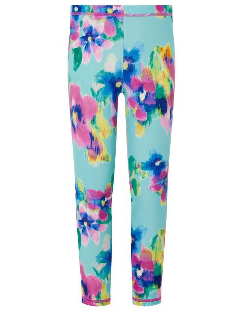 Blurred Floral Sunsafe Leggings, Blue (TURQUOISE), large
