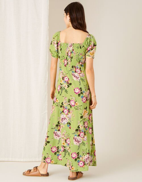 Floral Sweetheart Dress with Sustainable Viscose , Green (GREEN), large