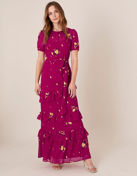 Lexie Floral Tiered Frill Maxi Dress Pink, Pink (PINK), large