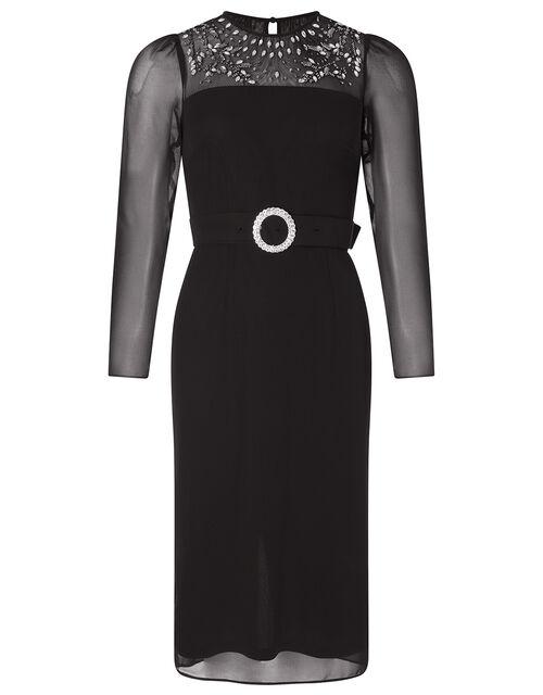 Donatella Embellished Shift Dress, Black (BLACK), large