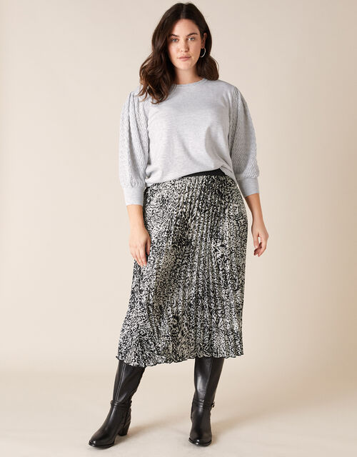 Pointelle Puff Sleeve Knit Jumper, Grey (GREY MARL), large