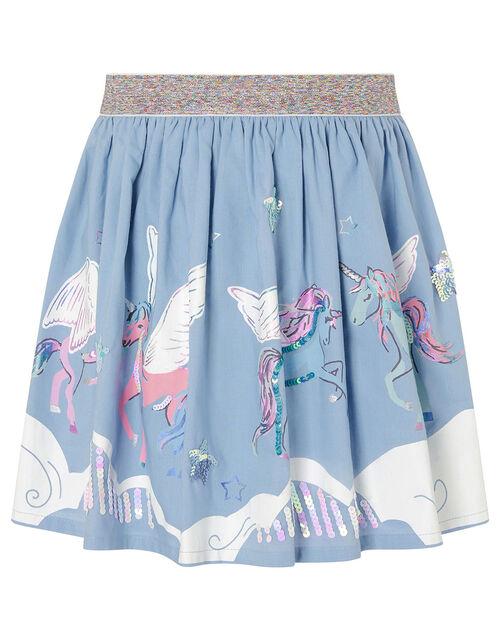 Sequin Cloud Unicorn Skirt, Blue (BLUE), large