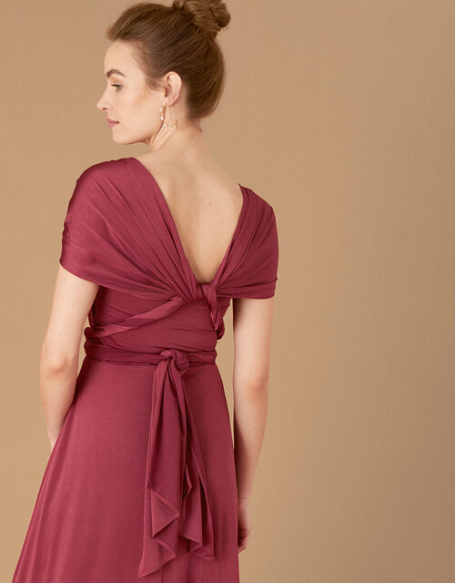 Tallulah Twist Me Tie Me Jersey Bridesmaid Dress, Red (BURGUNDY), large