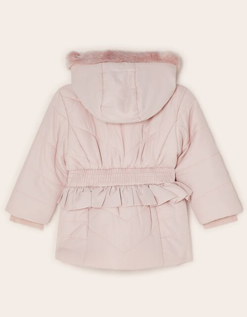 Baby Frill Shirred Waist Padded Coat, Pink (PALE PINK), large