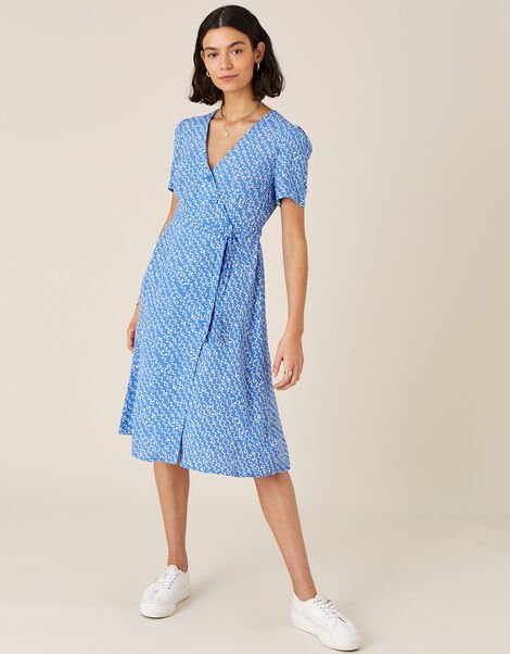Melody Printed Midi Dress Blue, Blue (BLUE), large