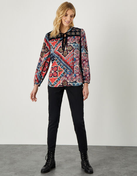 Patch Print Velvet Trim Top Red, Red (RED), large