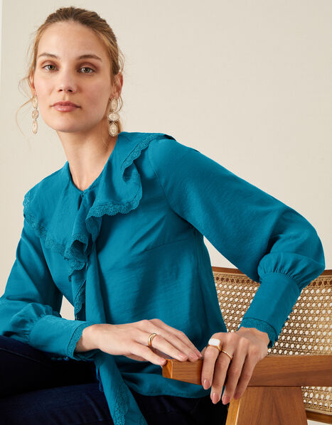 Quinn Ruffle Satin Long Sleeve Blouse Blue, Blue (AQUA), large