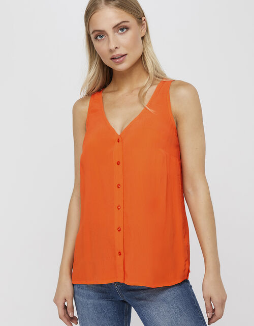 Kerry Button Cami Top, Orange, large