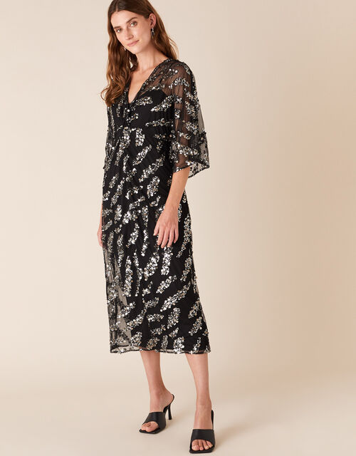 Perpetua Sequin Twist Dress, Black (BLACK), large