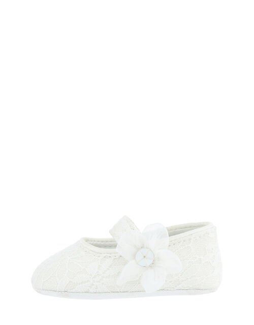 Baby Tiana Shimmer Lace Corsage Booties, Ivory (IVORY), large