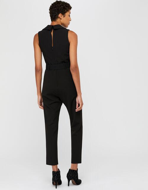 Taylor Crepe Tux Jumpsuit, Black, large