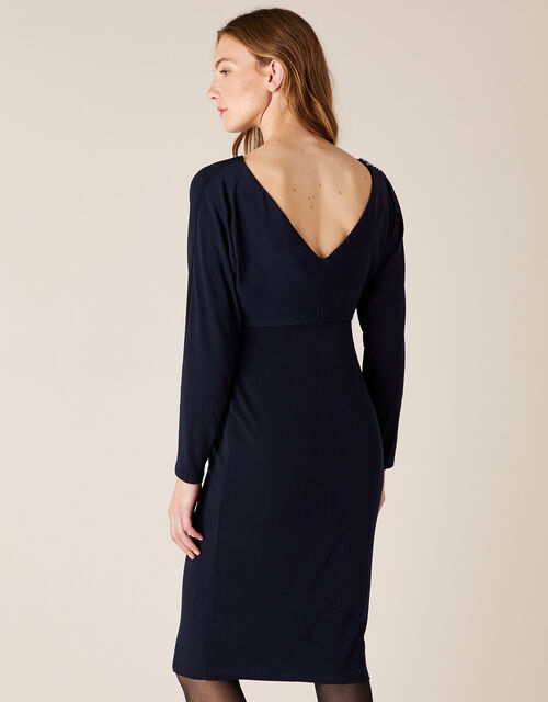 Danielle Beaded Shoulder Jersey Dress, Blue (NAVY), large