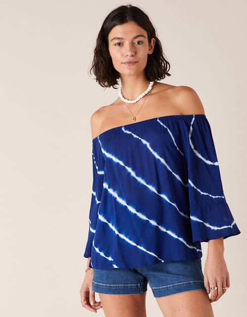 Tie-Dye Off-Shoulder Top in LENZING™ ECOVERO™, Blue (BLUE), large
