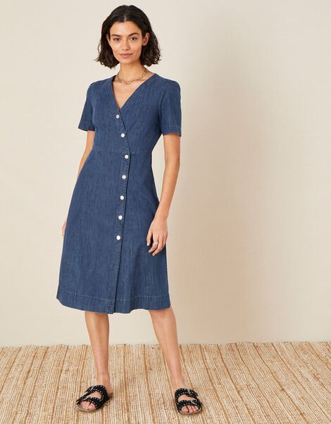 Denim Wrap Midi Dress Blue, Blue (DENIM BLUE), large