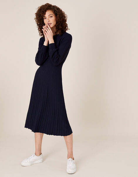 Pleated Knit Dress with LENZING™ ECOVERO™ Blue, Blue (NAVY), large