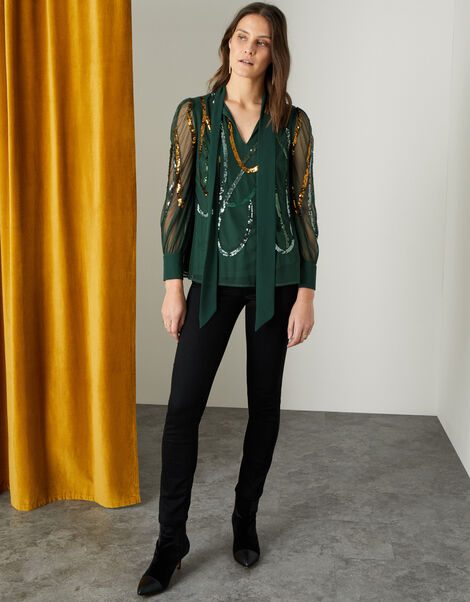 Lydia Embellished Long Sleeve Blouse  Green, Green (GREEN), large