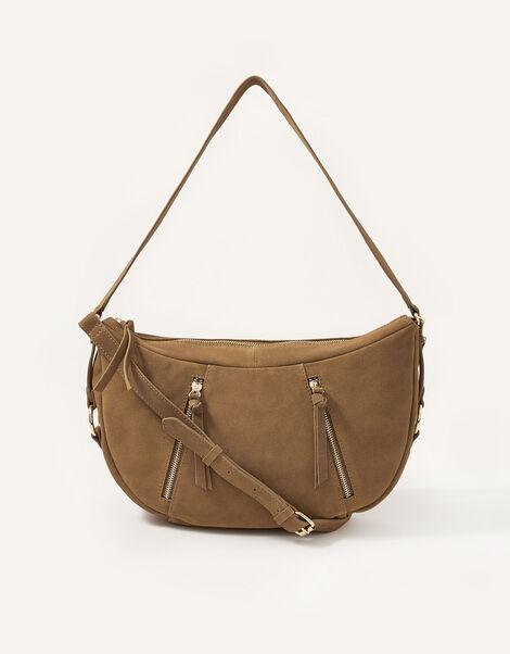 Dana Zip Suede Shoulder Bag, , large