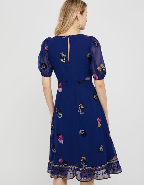 April Floral Embroidery Tea Dress, Blue (BLUE), large