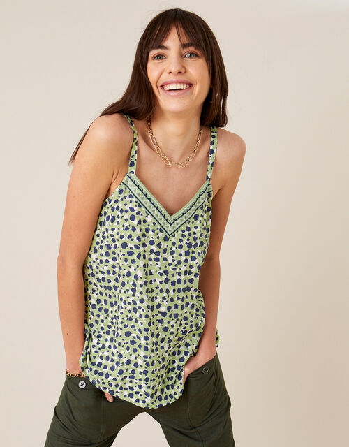 Animal Print Cami in LENZING™ ECOVERO™, Green (GREEN), large