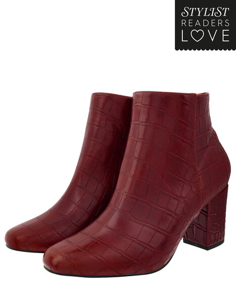 Cindy Croc Ankle Boots Red, Red (BURGUNDY), large