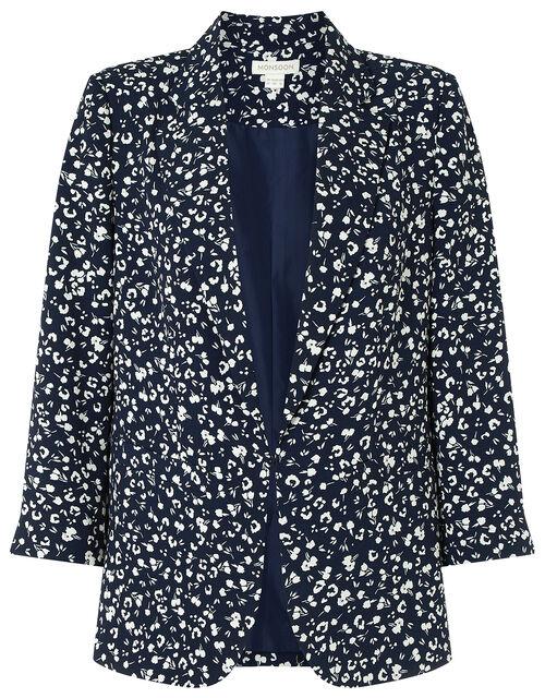 Poppy Floral Print Blazer, Blue (NAVY), large
